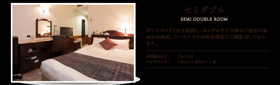 セミダブル 少しタイトな室内ですが、カップルでの御宿泊に最適!料金もリーズナブルな設定にて御案内しております。特別プランにて予約時、アメニティや備品の追加も可能です。