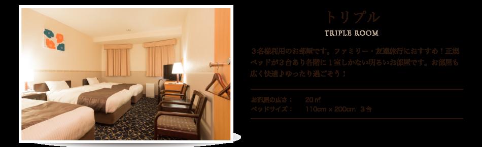 トリプル 3名様利用のお部屋です。ファミリー・友達旅行におすすめ!正規ベッドが3台あり各階に1室しかない明るいお部屋です。お部屋も広く快適♪ゆったり過ごそう!
