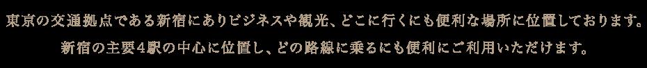 東京の交通拠点である新宿にありビジネスや観光、どこに行くにも便利な場所に位置しております。新宿の主要4駅の中心に位置し、どの路線に乗るにも便利にご利用いただけます。